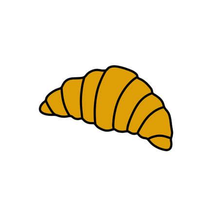 croissant doodle icon, vector color line illustration