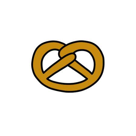 pretzel doodle icon, vector color line illustration