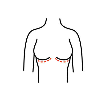 breast surgery doodle icon, vector colour illustration