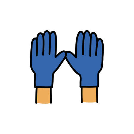 medical gloves doodle icon, vector colour illustration