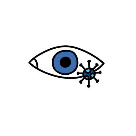 transmission of the virus through the eyes doodle icon, vector colour illustration