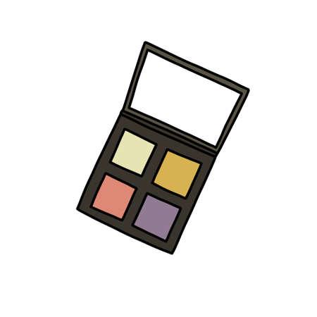 eyeshadow doodle icon, vector colour line illustration Vettoriali