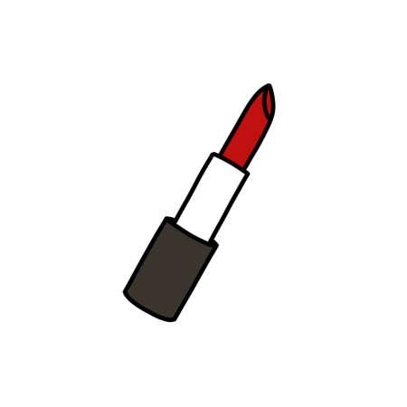 lipstick doodle icon, vector colour line illustration Çizim