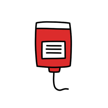 blood donation doodle icon, vector color illustration