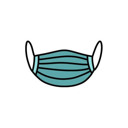 medical mask doodle icon, vector color illustration Çizim