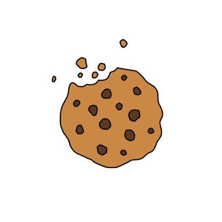 chocolate chip cookies doodle icon, vector color illustration Çizim