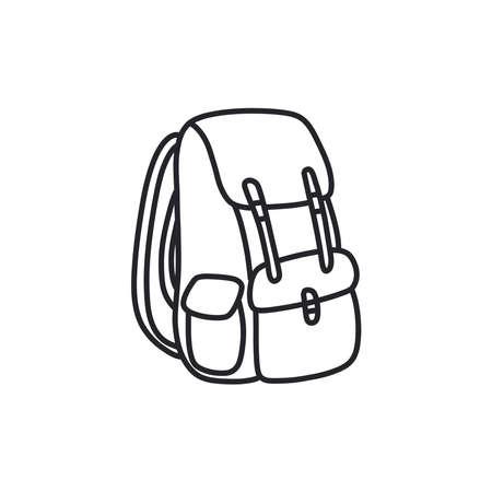 backpack doodle icon, vector black line illustration