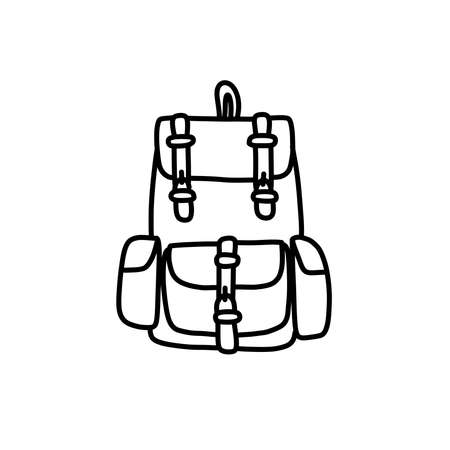 backpack doodle icon, vector black line illustration