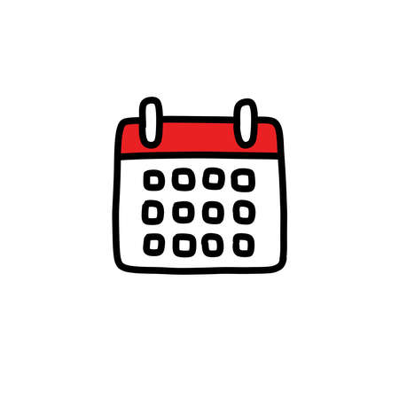 calendar doodle icon, vector color line illustration Çizim