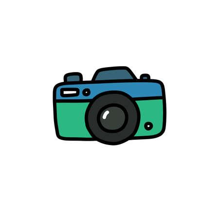 camera doodle icon, vector color line illustration Çizim