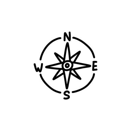 compass doodle icon, vector black line illustration
