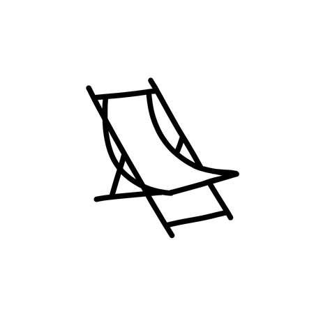 deckchair doodle icon, vector black line illustration