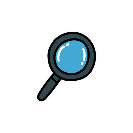 magnifying glass doodle icon, vector color illustration