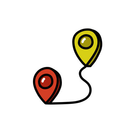 map pointer doodle icon, vector color illustration