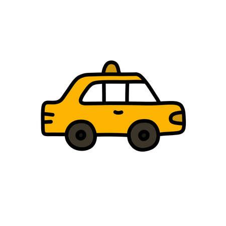 taxi doodle icon, vector color line illustration Çizim