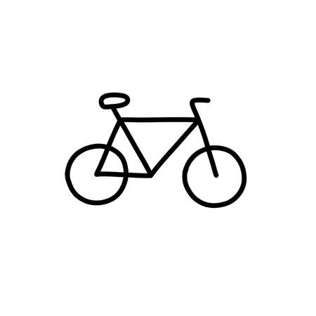 bicycle doodle icon, vector black line illustration