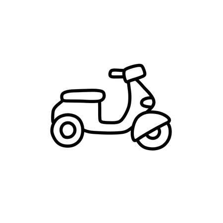 motorcycle doodle icon, vector black line illustration Stok Fotoğraf - 158027997