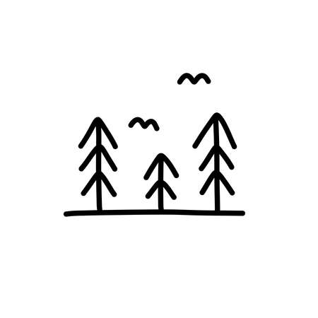 nature doodle icon, vector line  illustration