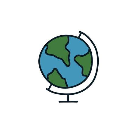 globe doodle icon, vector color line illustration