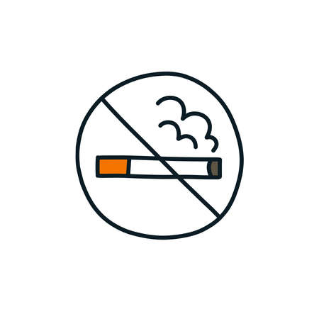 no smoking sign doodle icon, vector color illustration
