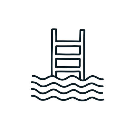 swimming pool doodle icon, vector line illustration