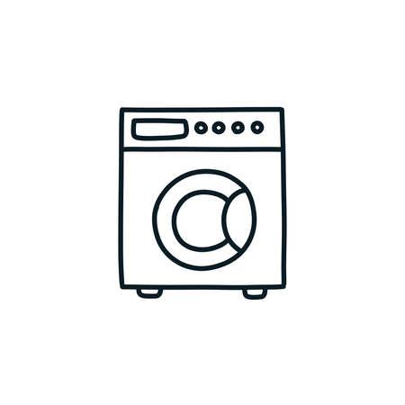 washing machine doodle icon, vector line illustration Çizim