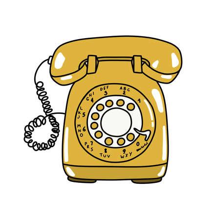 landline phone doodle icon, vector illustration