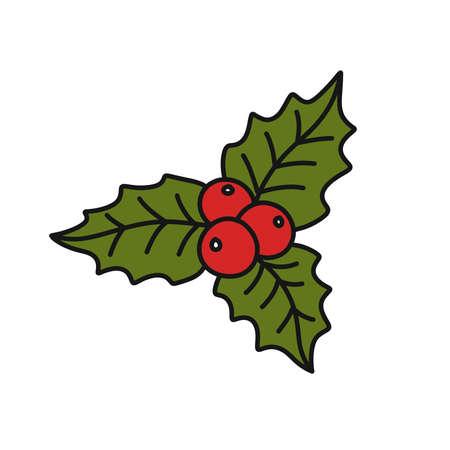 mistletoe doodle icon, vector illustration Vector Illustration