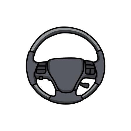 steering wheel doodle icon, vector illustration