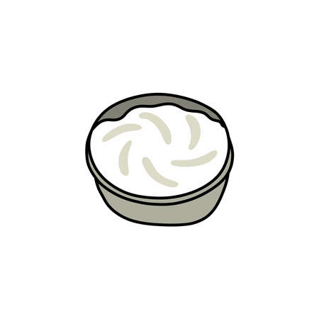 cream cheese doodle icon, vector illustration