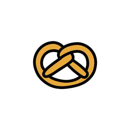 pretzel doodle icon, vector illustration