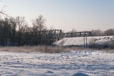 winter landscape with a railway bridge is a good screensaver stock