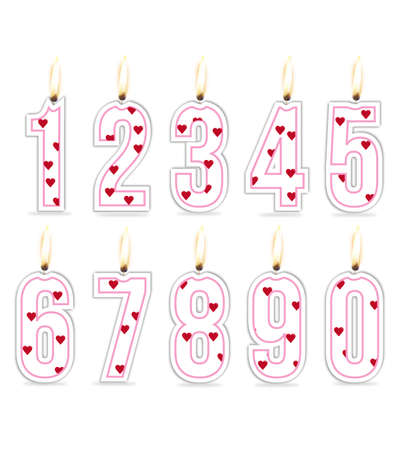 Numeral birthday candles girl Illustration