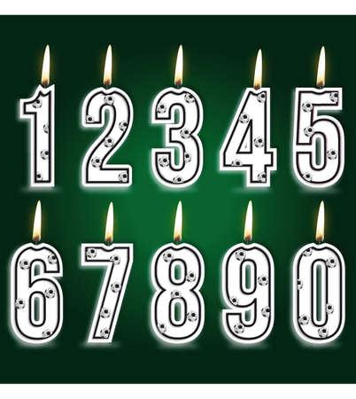 birthday cake: Numeral soccer birthday candles
