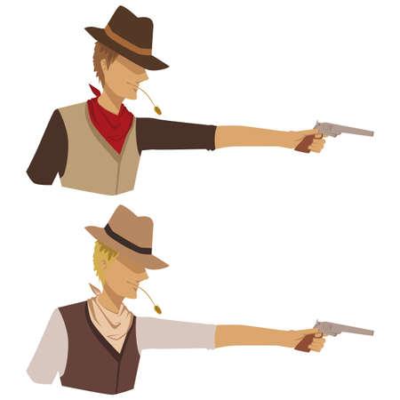 Shooting cowboy Illustration