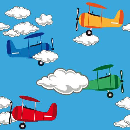 Seamless airplane pattern Illustration