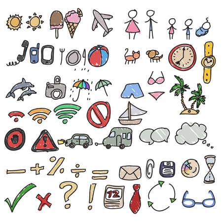 child hand drawn icons