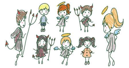 devil cartoon: Child hand drawn angels and devils Illustration