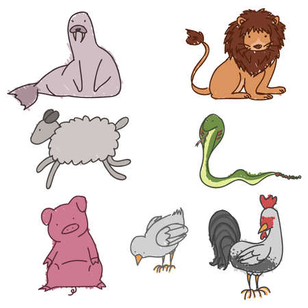 Set of hand drawn childish animals Vector