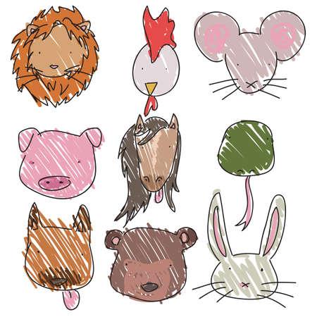 Set of hand drawn childish animal heads Vector