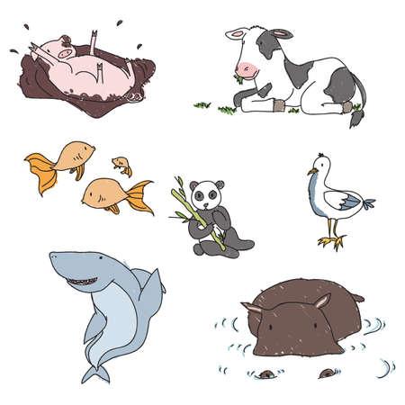 Childish hand drawn animals Illustration