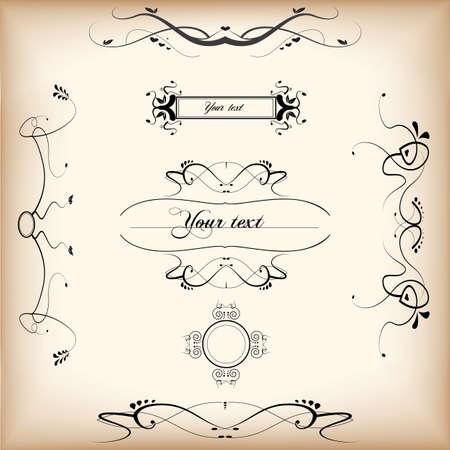 Calligraphic design elements and decoration Illustration