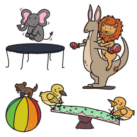 Animals playing on a playground Stock Vector - 19112726