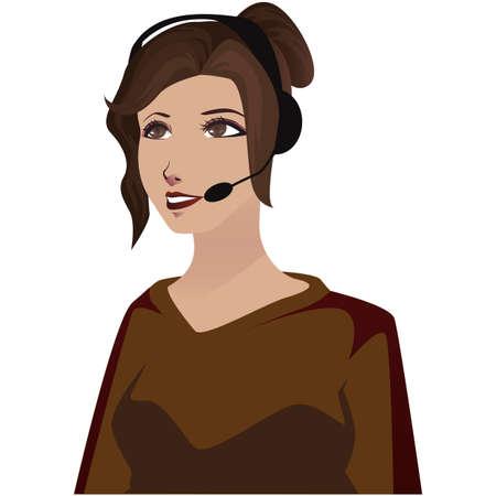 Secretary calling on a headset