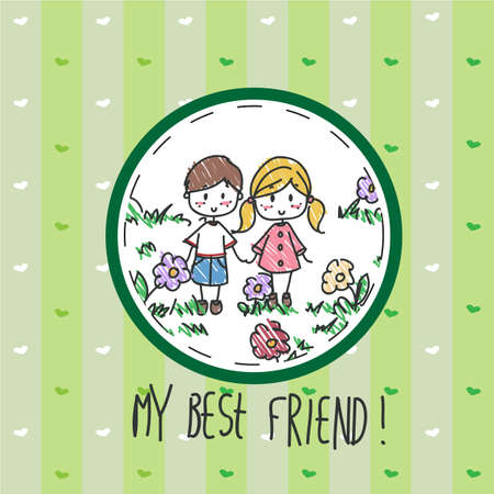best friends forever: Hand drawn best friend greeting card