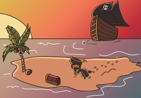 Pirate taking his treasure on a lost island Vector