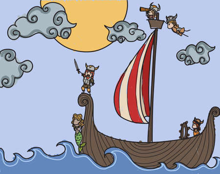 Vikings on a boat at sea Vector