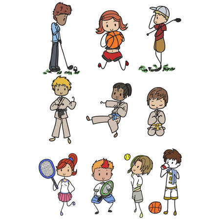 Sporty kids acting various sports Ilustracja
