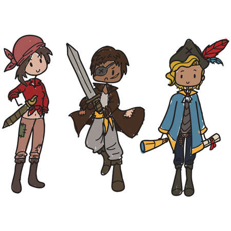 Children dressed up as pirates Stock Vector - 19245235