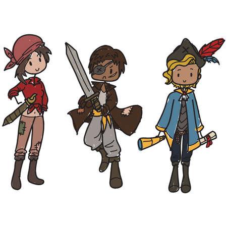 Children dressed up as pirates Illustration